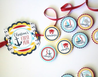 Nautical Whale Sailboat First Year Photo Banner - 12 Month Photo Banner - Crab Whale Birthday Party Photo Banner