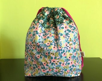 "Handmade drawstring bag / pouch for knitting crochet project 10"" x 7.5"" x 3.5""  *Rosa pink*"