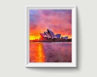 Opera House Sydney Watercolor Painting Art Printable Q29