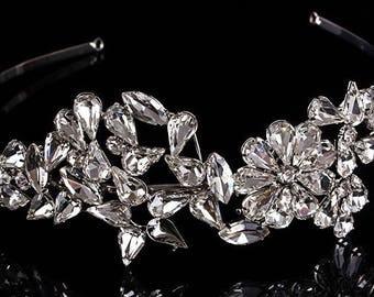 Crystal bridal tiara headband