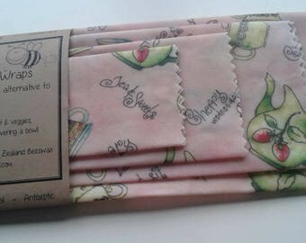 Beeswax Food Wraps 'Tea Party' - the eco-friendly alternative to plastic cling wrap