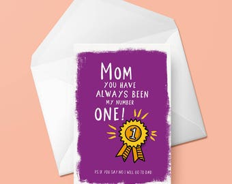 Mothers Day Card | Number One | The Best
