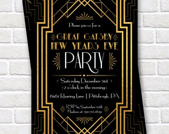 great gatsby invitation new years party invitation christmas party invitation 1920s roaring