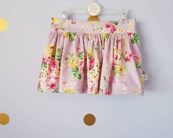 Girls floral twirly skirt lilac purple, girls skirt, girls clothes, toddler skirt toddler clothes, pockets,pretty skirt,summer,ready to send