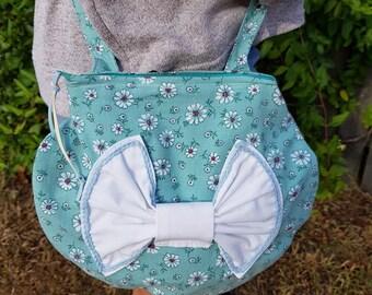 Girls toy handbag,Kids bag, Bows, Eco-friendly, Cross body bag, flowers, Cotton Made in Australia