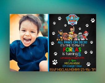 Paw Patrol Birthday Invitation, Paw Patrol Invitation, Paw Patrol Birthday Party, Paw Patrol Birthday, Paw Patrol Invitation With Photo, Dog