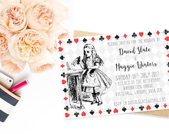 Alice in Wonderland Invitation - Printable Invitations - Custom Invitations (Drink Me)
