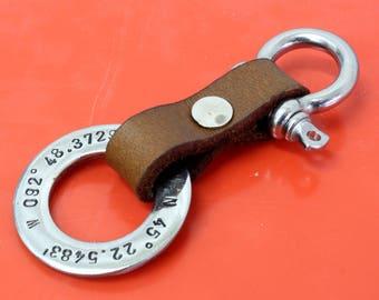 Personalized Leather Keychain,Coordinates Latitude Longitude Keychain,Custom Coordinates,GPS keychain,Graduation,Anniversary,Custom Gift
