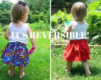 Reversible Superhero Skirt - Custom Twirly Skirt - Girls Twirl Skirt - Toddler Skirt - Superhero Birthday - Superhero Girl - Nerdy Skirt