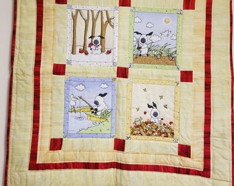Hand Crafted Baby Quilt with Four Season Sheep Design