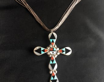 Vintage Zuni Zeno And Maryann Edaaki Stone Inlay Sterling Silver Cross On A Liquid Silver Necklace Stamped ZME ZUNI NM (New Mexico)