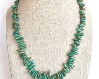"Vintage Native American Sterling Green Turquoise Nugget Beaded Necklace 18"", Turquoise Necklace, Green Turquoise Necklace, Turquoise Beads"