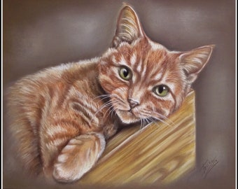 Cat Painting, Custom Pet Painting, Commission Painting,Cat Painting, Pet Memorial, Pet Portraits from your photo, Non Digital