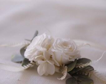 Peigne Blanche vraies fleurs stabilisées écologiques