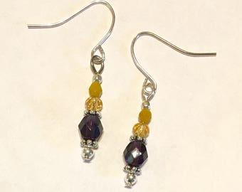 Dark Purple Yellow Silver Dangle Earrings