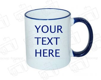 Personalized Coffee Mug Red Handle 11oz cup Custom Photo Text Logo  Gift New