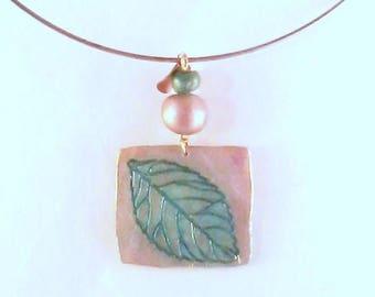 fluorescent green turquoise filigree leaf pendant