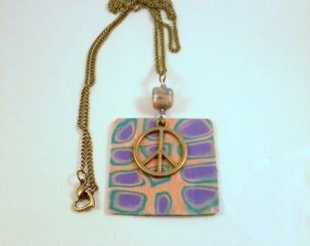 so 70's background pendant Pink Purple and green and love and peace sign