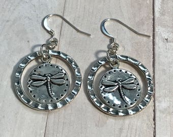 Hammered Metal and Silver Plated Dragonfly Earrings