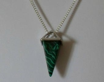 Malachite Pyramid Necklace,Green Crystal Pyramid Necklace Pendant Jewelry,Silver Egyptian Pyramid Necklace Jewelry