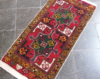 Oushak Rug,Turkish Small Rug,Vintage Small Rug,1'10''x3'x9''feet,Home Living,Fashion Rug,Wool on cotton Rugs,, Anatolian Carpet,Small Rug,