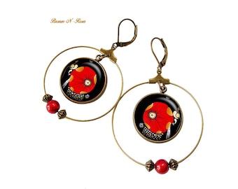 Earrings hoop earrings poppy pendants bronze bronze-n-roses