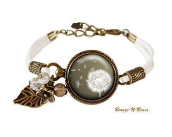 """Bracelet """" L'envol du pissenlit """" cabochon blanc bronze fleurs vert fleurs aigrettes"""