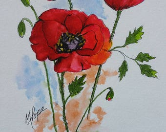 Poppies/Poppies Watercolor/Poppies painting/Home decor/ Watercolor and Ink/Poppies art/5 x 7 watercolor/Flowers watercolor/Floral art