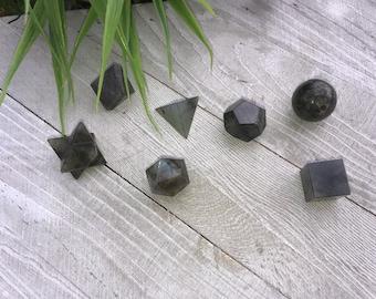 7 Pieces Labradorite Sacred Geometry Set  With Wooden Box Crystal grid Reiki Healing Crystals Mandala  