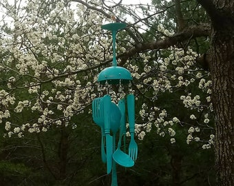 Teal goblet and silverware windchime
