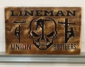Engraved UNION LINEMAN CUSTOM Wall Art Decor**