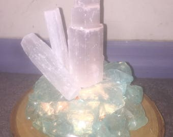 Selenite and Sea Glass Lamp