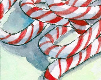 ACEO / ATC Original: 'Candy Canes' - ink and watercolor on 140lb watercolor paper