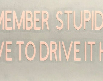 Remember stupid ...you have to drive it home vinyl decal