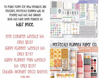 Fall Collection // Full Weekly Kit // Happy Planner Mini