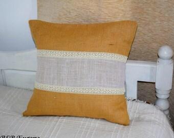Natural Burlap Pillow Cover and cotton lace, Jute pillow cover, Burlap decor, Farmhouse pillows decor, Rustic pillow, jute, hessian, cotton
