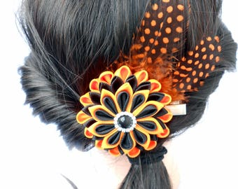Halloween hair gift Black orange kanzashi hair clip Feather hairpin Halloween origami flower Geisha hair piece Statement unique hair piece