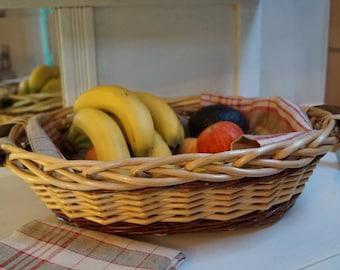 Wicker basket handmade vintage, basket fruits, decoration, table art