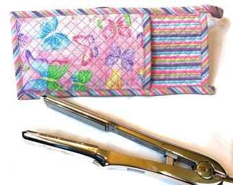 Flat Iron Holder, Heat Resistant Flat Iron Case, Pink Wife Gift, Xmas Gift for Sisters, Flat Iron Cover, Heat Resistant Fabric