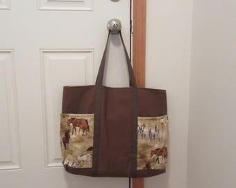 """Large Tote Bag- """"Horses"""""""