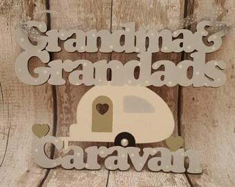 Grandma and Grandads caravan plaque.  Laser cut plaque.  Caravan plaque with hearts