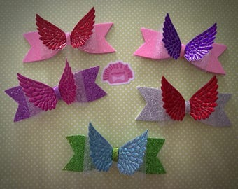 Wing hair bows, handmade, many colours available, made on hair clips, perfect presents