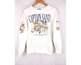 CAPTAIN SANTA by Joymark Design 90s Sweatshirt long Sleeve Sweatshirt Full Print Small Size