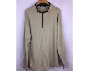 CHAPS Ralph Lauren Long Sleeve Sweatshirt Size 3L with Neck Zipper