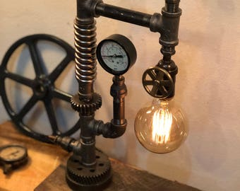 Steampunk Industrial Pipe Lamp-  The Crane Lamp