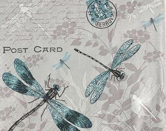 Decoupage Napkins x4,Paper Napkins for Decoupage Scrapbooking Craft Papercraft Vintage Dragonfly Firefly Cursive Script Postcard Stamps 324