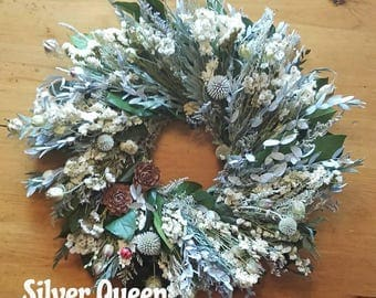 Silver Queen, white wreath, dried flower wreath