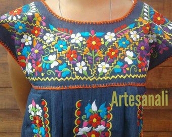 Mexican Bohemian Embroidered Sleeveless dress size Medium/