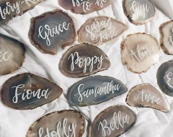 Wedding place cards. Agate coasters. Calligraphy. Name cards. Place settings. Wedding favours. Bridal shower. bridesmaid gift. Bonbonniere
