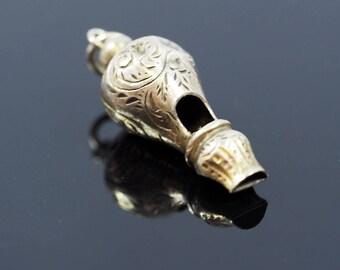 Antique Miniature Silver Whistle Pendant